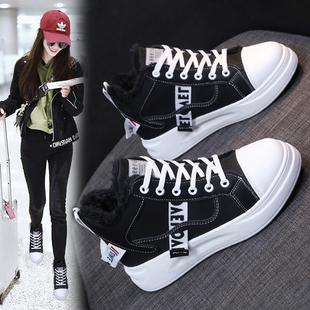 网红爆款加绒老爹鞋女2019新款冬季百搭高帮鞋厚底运动鞋棉鞋短靴