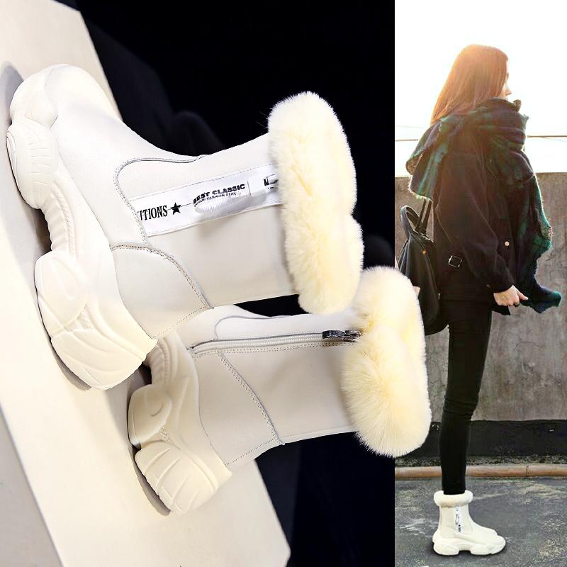 知莲短筒雪地靴女皮毛一体2018新款冬季韩版百搭短靴加绒面包棉鞋