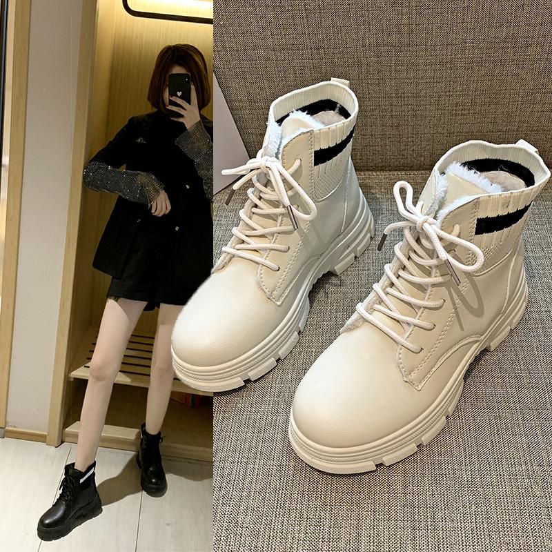 爆款雪地靴女2019新款冬季百搭加绒短靴马丁靴英伦风网红厚底棉鞋