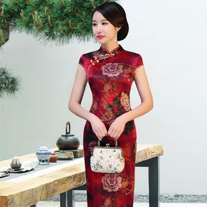 重磅真丝旗袍中年女桑蚕丝高端中老年气质中长款夏季妈妈婚宴