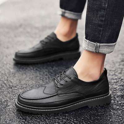 春季休闲小皮鞋男士英伦商务正装韩版潮流百搭布洛克青少年内增高