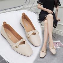 女鞋子低帮鞋韩版学生时尚浅口粗跟单鞋甜美奶奶鞋懒人鞋2018新品