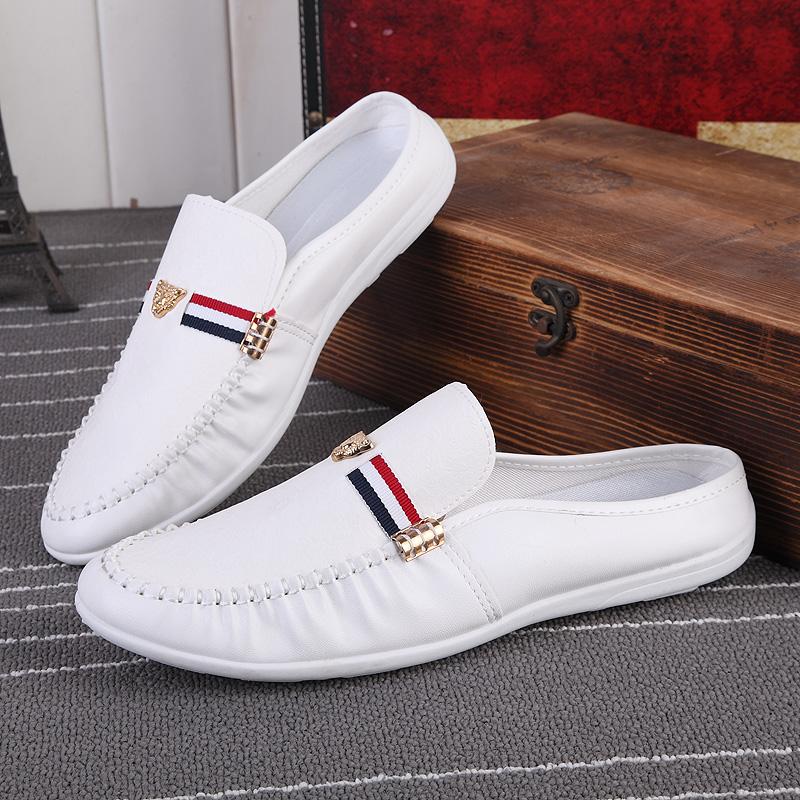 夏季男士半拖鞋男韩版豆豆鞋夏天无跟皮鞋懒人凉鞋休闲潮鞋子白色