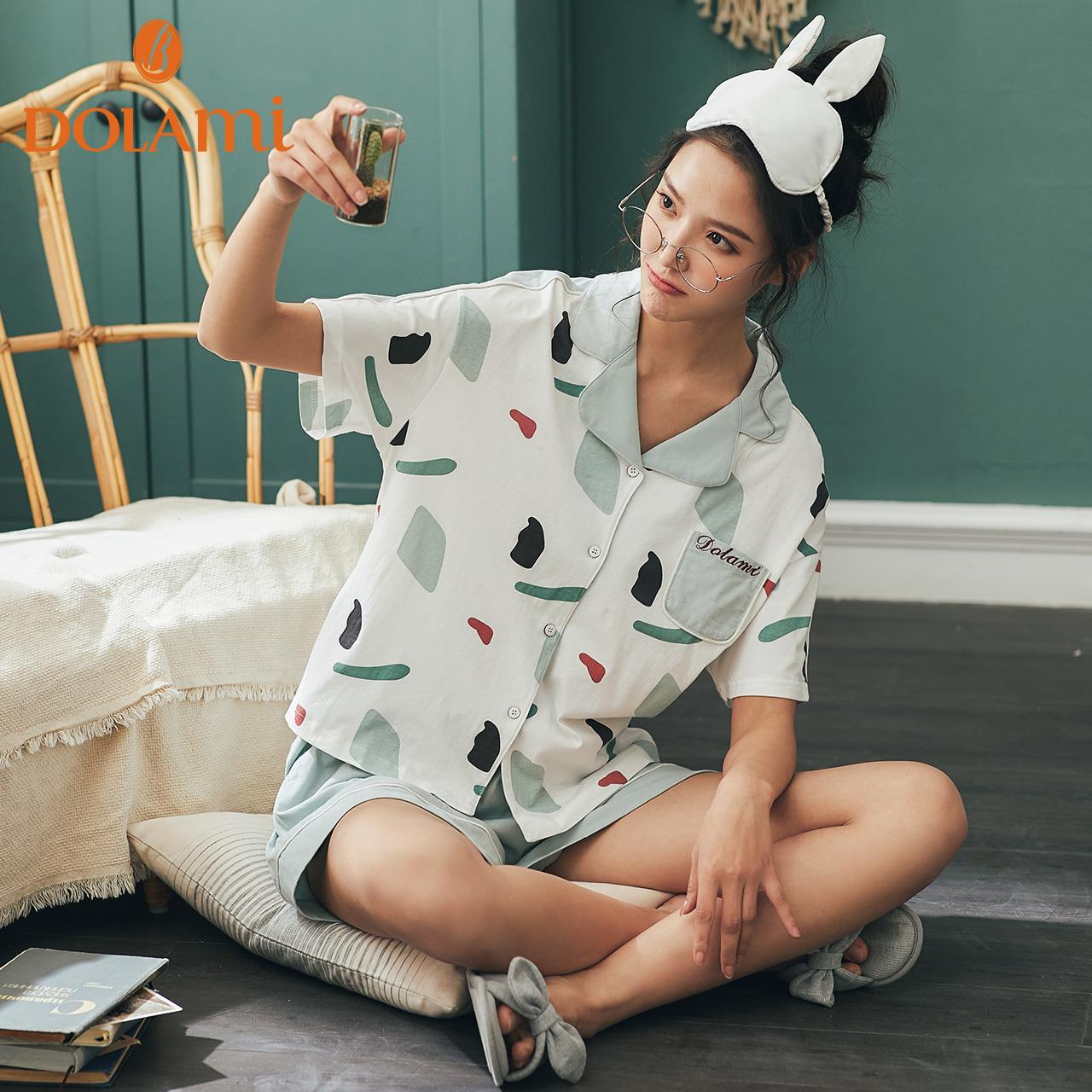 多拉美睡衣女夏季短袖宽松两件套夏天纯棉韩版清新学生家居服套装