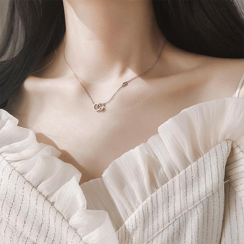 [小宝纯银饰品项链]通体925纯银chic项链女韩版双C月销量1227件仅售49元