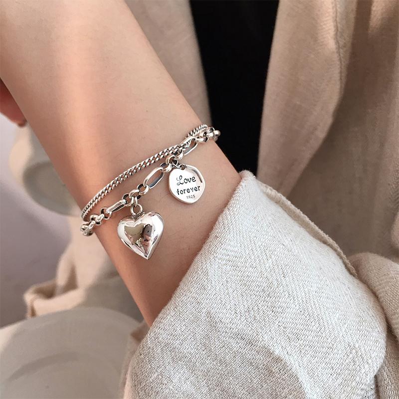 小宝925纯银情侣爱心字母双层手链女ins小众设计泰银复古轻奢饰品
