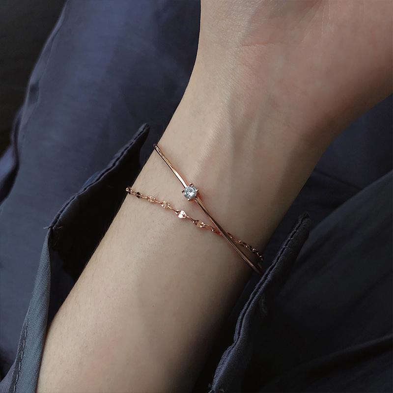 通体925纯银闪钻开口手镯简约创意个性双层手链日韩国学生潮流女