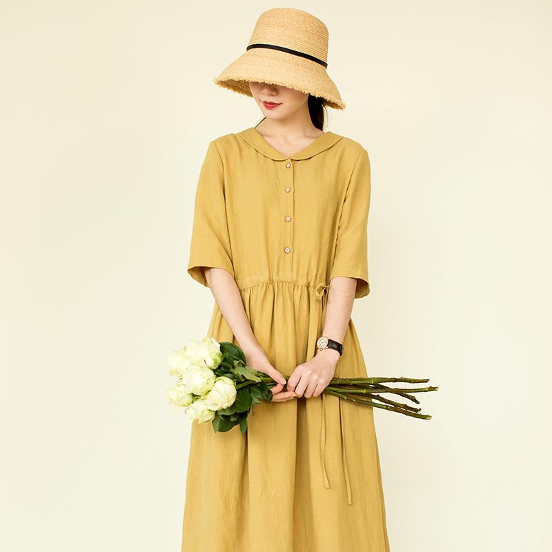 Light bath [Xiaoxia agreement] Taiwan cotton and hemp skin friendly small Lapel dress long skirt