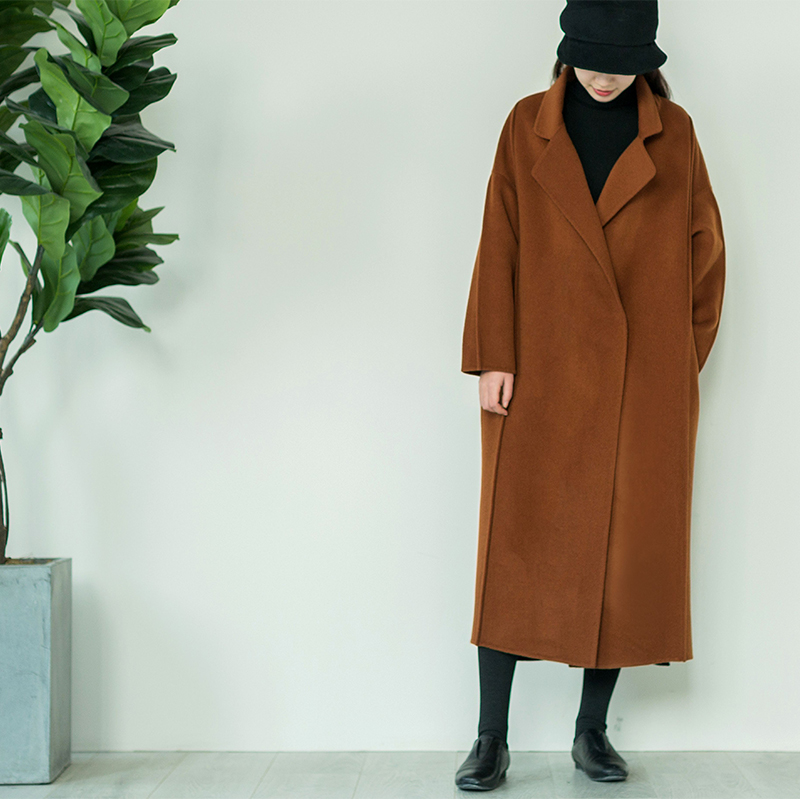 Qingmu homemade new winter loose woolen coat womens middle long knee length double-sided wool student woolen coat