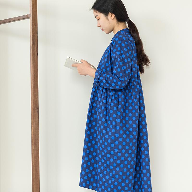 Light bath winter new long sleeve shirt skirt childrens loose Lapel Dot Blue Warm student dress