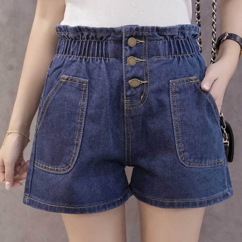 2020 high waist perforated denim shorts womens summer big womens loose wide leg womens elastic waist new hot pants