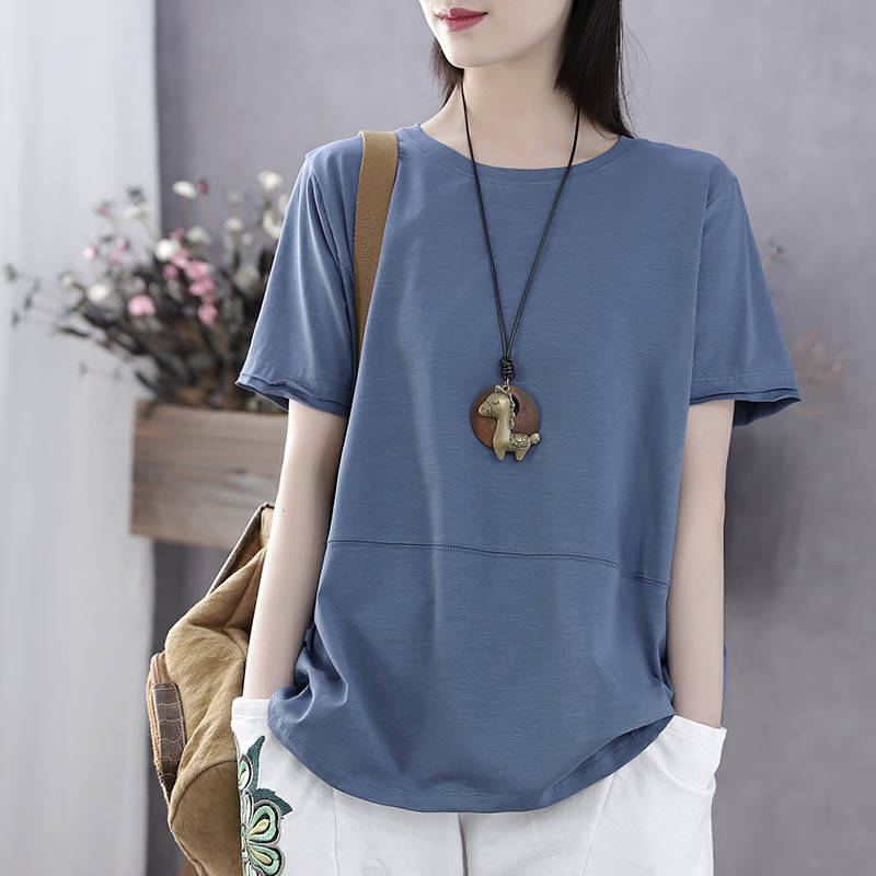 Pure cotton large womens literary short sleeve T-shirt womens Korean new summer loose and thin all cotton womens top