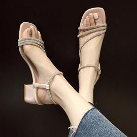 水钻凉鞋女粗跟2021年新款夏季百搭网红仙女风配裙子的高跟鞋子女