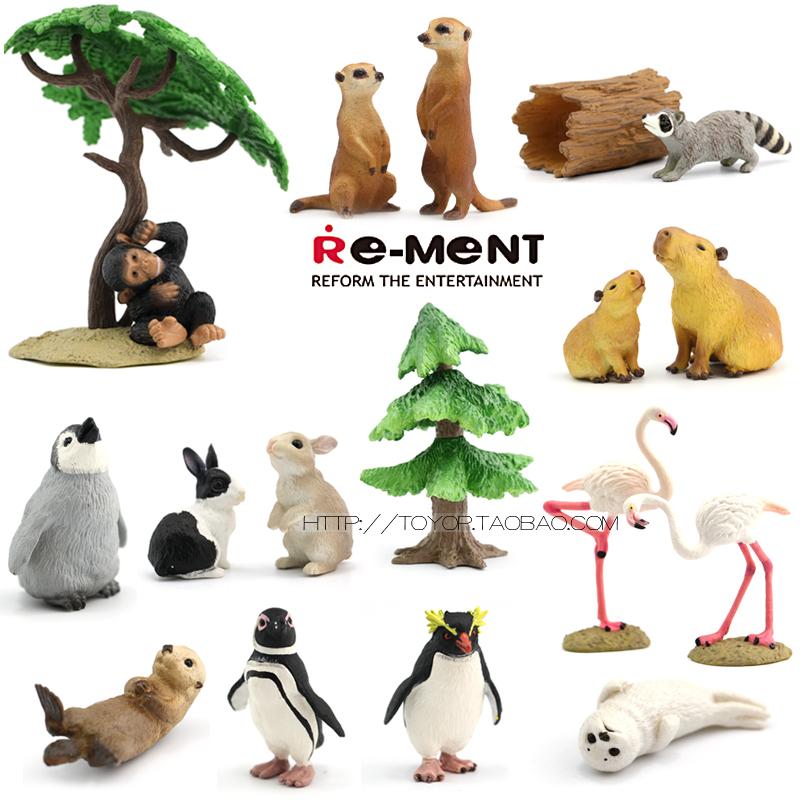 日本re-mentの正規版の本物の動物の場面の模型の猫とイタチの象の豹のサイの子供のおもちゃ