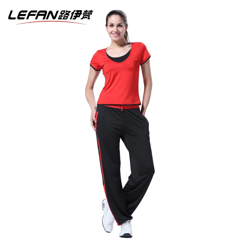 路伊梵健身服女瑜伽服舞蹈服运动套装女夏跑步服女显瘦健身服套装