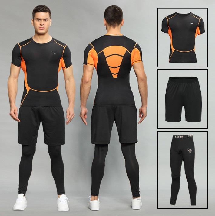 路伊梵速干健身房运动服紧身健身服男健美操跑步衣服套装三件套