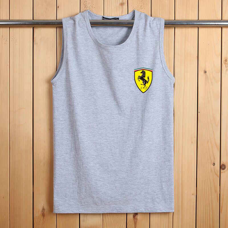Summer vest mens sleeveless T-shirt cotton T-shirt sports fitness loose cut sleeve plus size T-shirt bottom