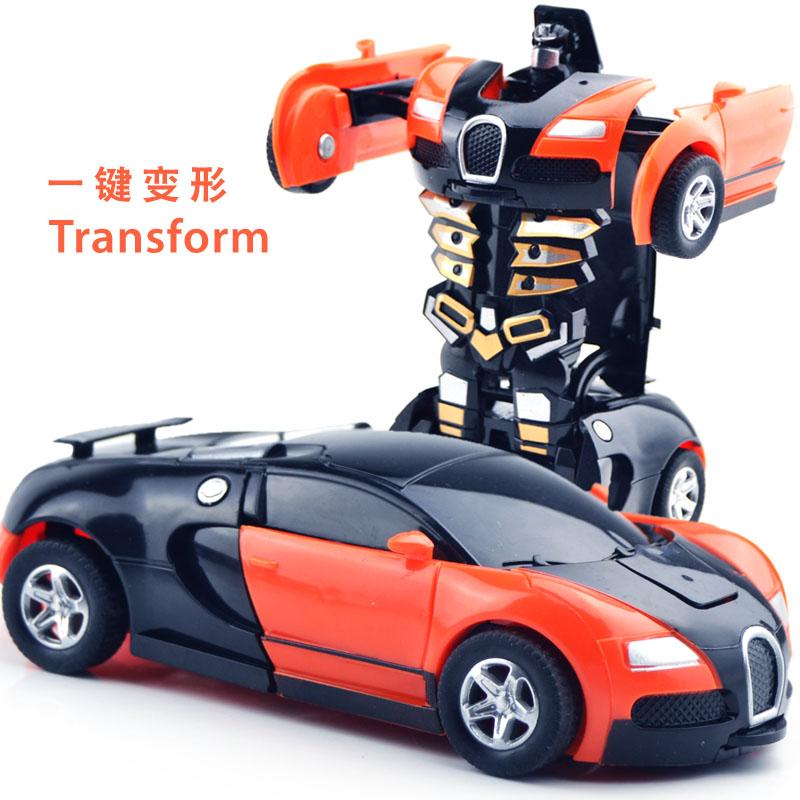 满8.95元可用1元优惠券一键儿童金刚男孩黄蜂车变形玩具车