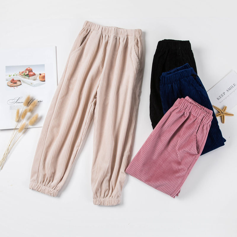 Mens and womens cashmere sports pants spring and autumn childrens loose casual pants Korean corduroy