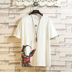 2020夏季款 日系白砖挂拍大码圆领印花短袖T恤 A017 1998 P35