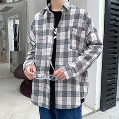 2019秋季新款 港风长袖格子宽松衬衫贴标衬衣 A017 C62 P50