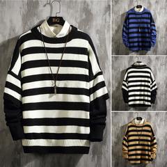 秋冬季假两件条纹圆领套头毛衣宽松针织衫大码 A017 820 P75