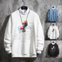 2020春季新款 日系挂拍涂鸦印花圆领套头卫衣大码 A017 WY510 P50