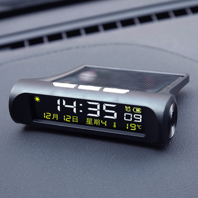 Ruilite genuine car clock solar electronic watch car electronic clock thermometer high-definition night light