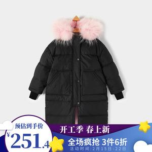 gxg kids童装商场同款黑色羽绒衣女童羽绒服KA211085G(无毛领)