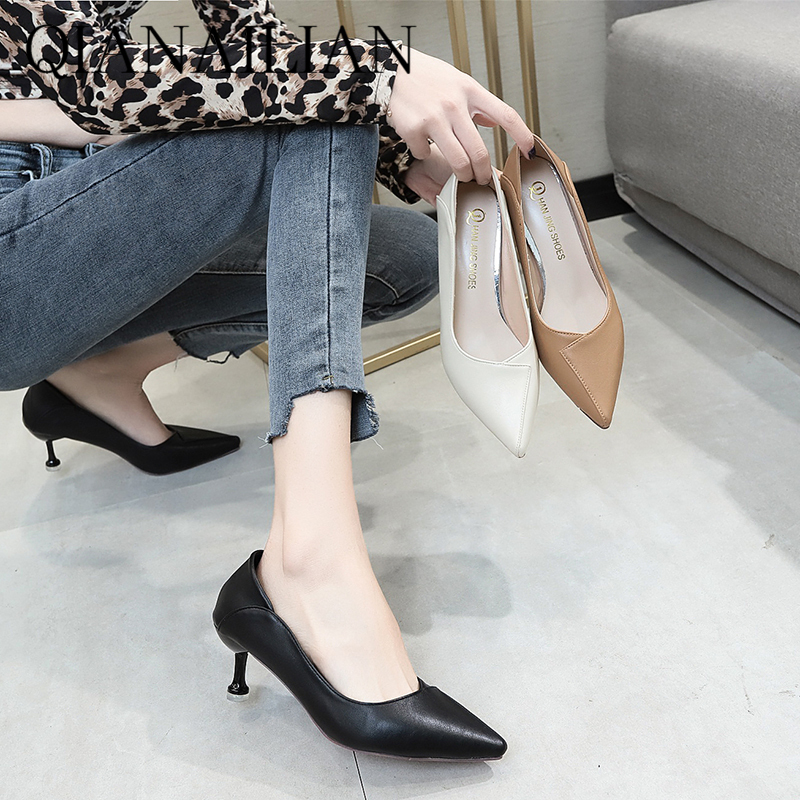 Single shoe 2020 spring high heel slim heel pointed sexy black professional women fashion French girl high heel shoes net red