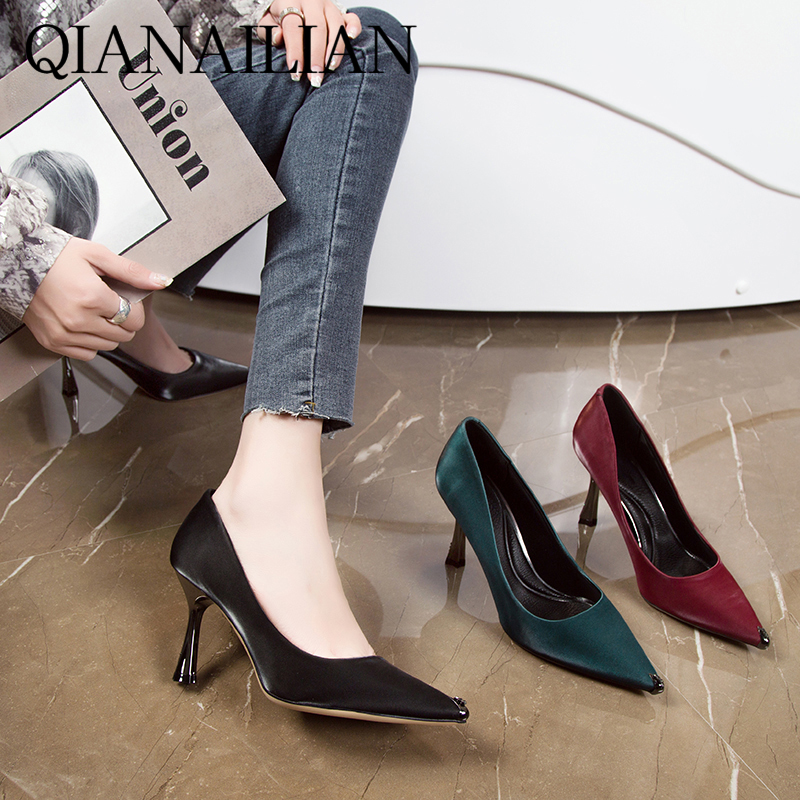 Metal pointed sexy high heels womens spring 2020 new versatile fairy girl slim heel single shoes professional shoes