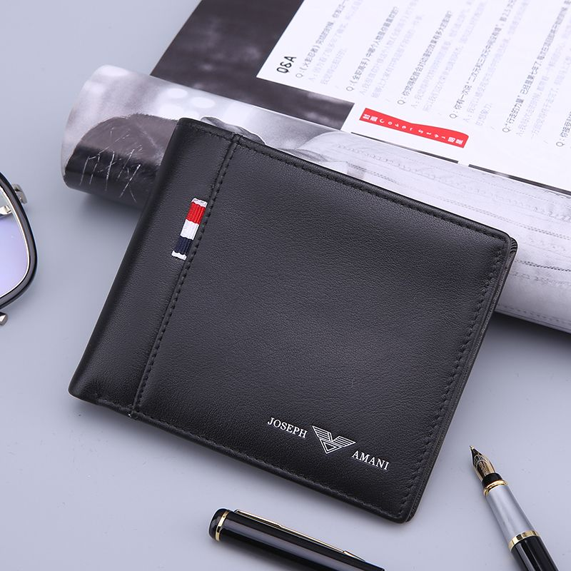 Zhuofan Armani wallet mens long genuine leather youth student trend ultra thin short folding Wallet