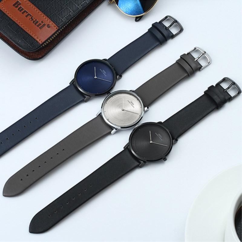 2021新款男士手表防水时尚手表男学生韩版潮流真皮概念简约石英表