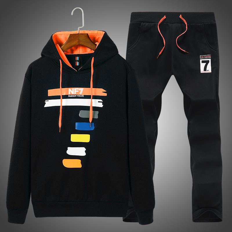运动套装男春秋季长袖跑步运动服套装男士休闲装青年卫衣男两件套