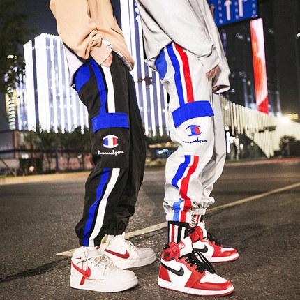 潮牌ins裤子男女情侣串标国潮九分束脚裤hiphop嘻哈运动休闲9分裤