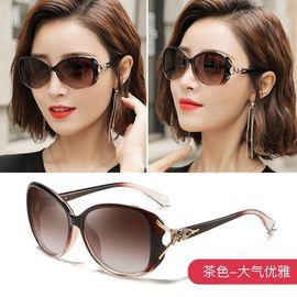 飞行员折叠式女装眼镜盒平光镜韩版圆形海边新款太阳镜女圆脸墨镜图片