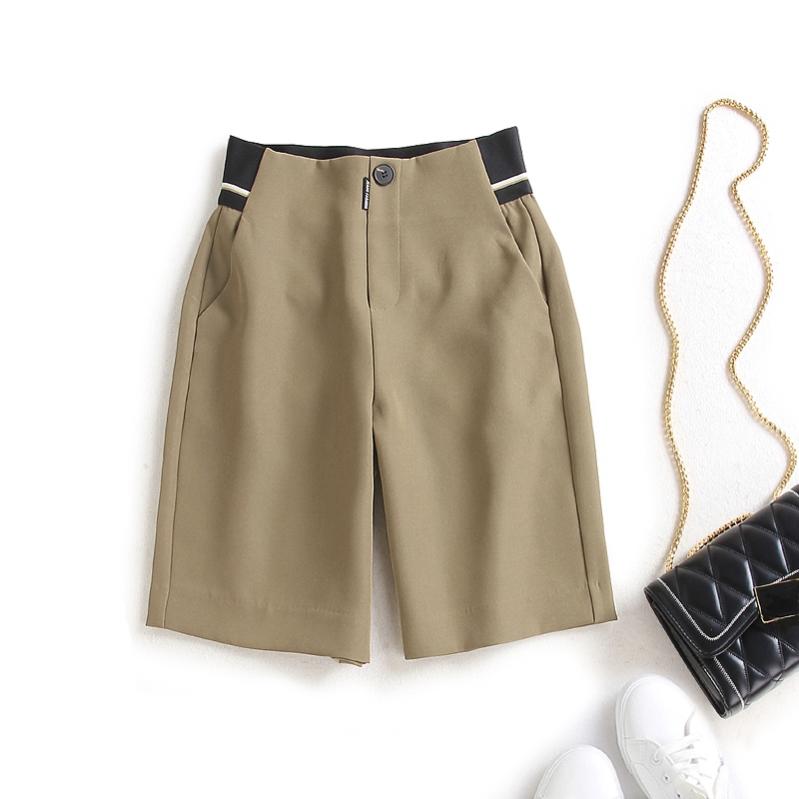 Striped belt equestrian pants shorts womens European station summer new suit womens five point pants high waist slim trousers fashion