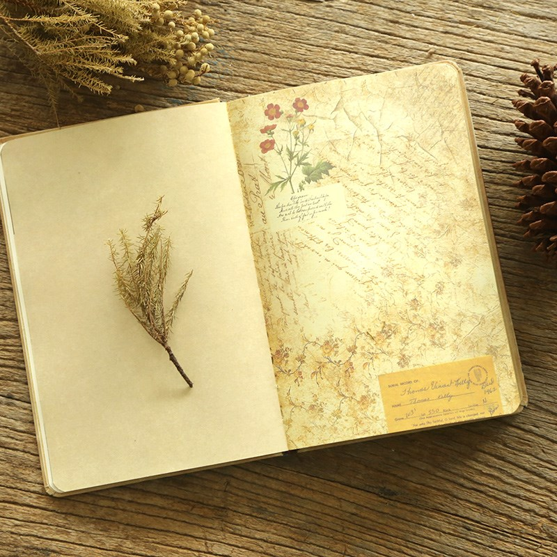 Good looking notebook creative retro interior page with pattern illustration hand account book Japanese style, European style and Korea