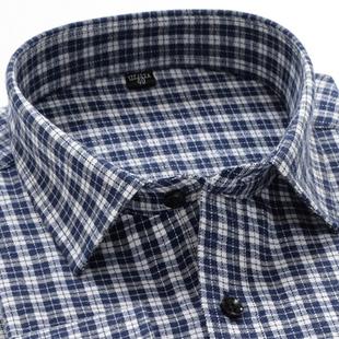 中年格子衬衫 内穿商务中老年爸爸装 男长袖 春季 内搭棉料打底衫 衬衣