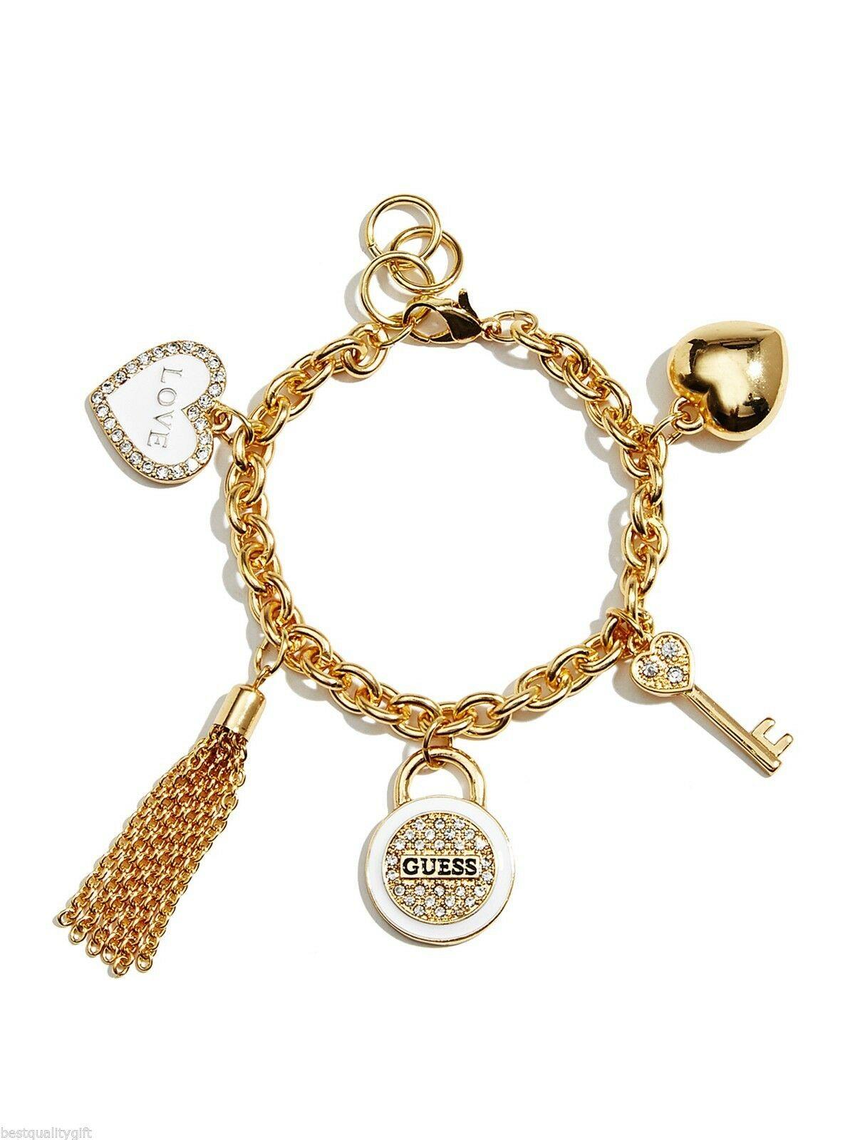 Guess盖尔斯白色金色链条铰链心形钥匙流苏水晶手镯