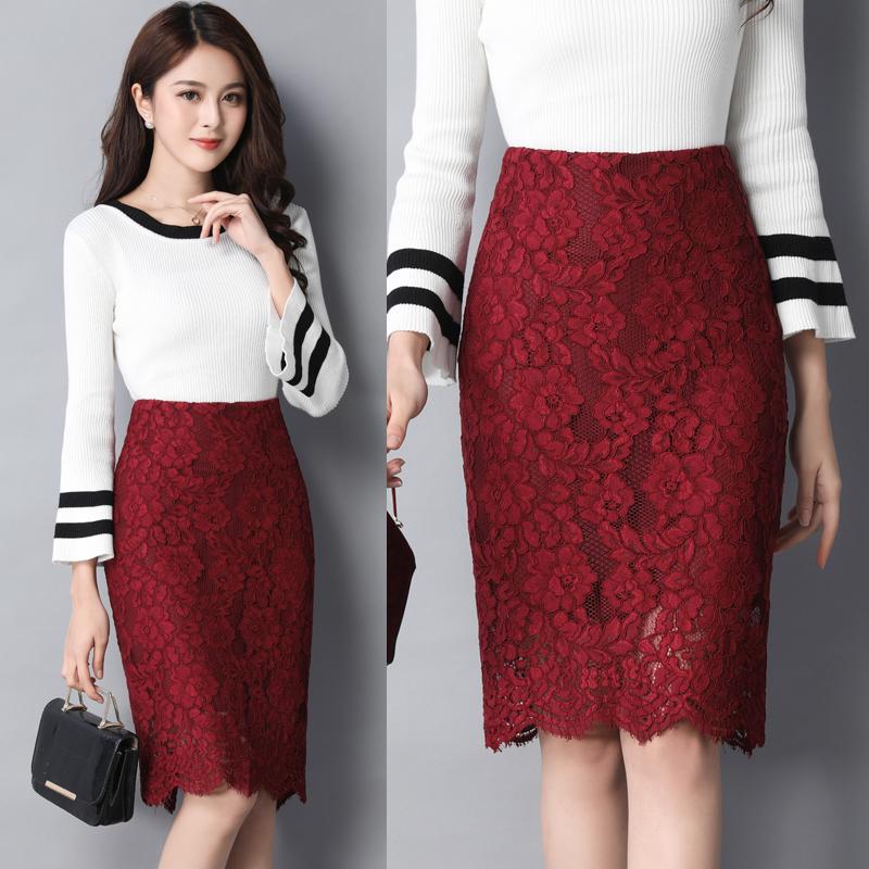 朵写2018春夏蕾丝半身裙包臀裙高腰女短裙裙子中长款一步裙包裙