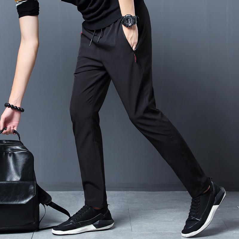 冰丝九分裤男士韩版潮流超薄款修身束脚裤速干空调裤休闲运动裤GG