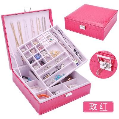 首饰盒 公主绒布双层欧式大正方带锁戒指手饰品收拾收纳盒大容量