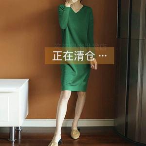 19秋冬新款女V领羊绒连衣裙中长款打底衫长款毛衣裙套头针织毛衣