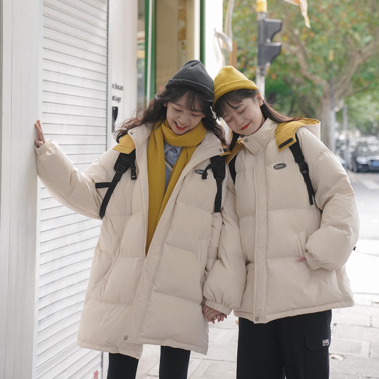 青蔷薇棉服女2021年冬季羽绒服韩版宽松加厚连帽面包服中长款棉衣