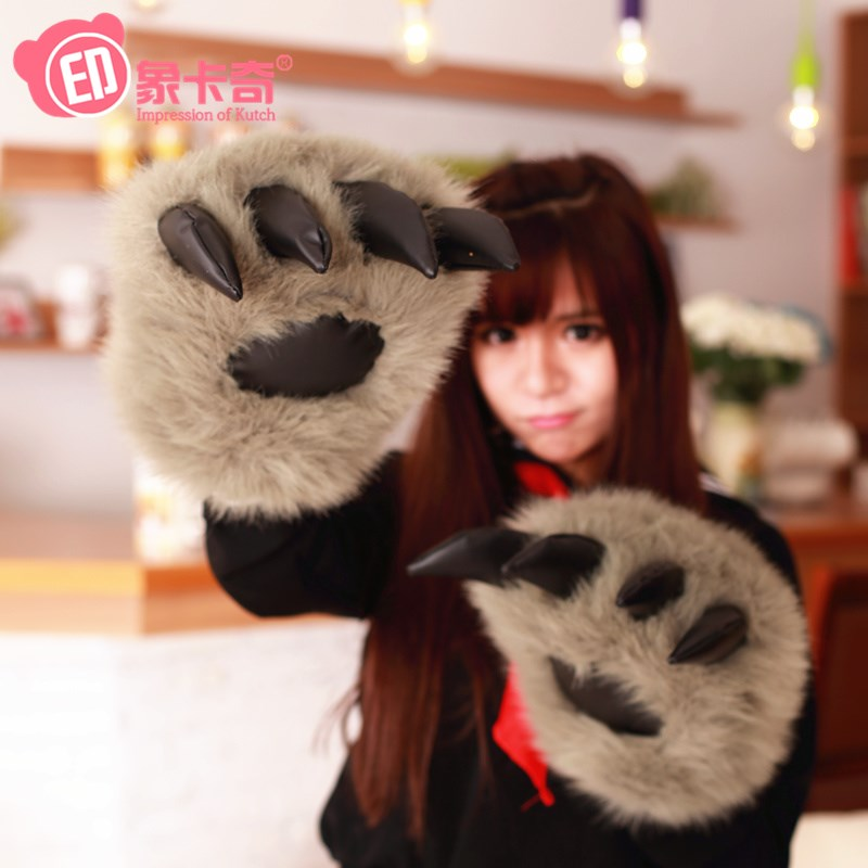 Cute warm hand pillow wolf claw bear paw glove creative plush toy tiger claw warm hand to help girls in winter