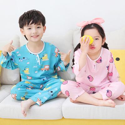 夏季棉绸套装长袖小孩绵绸空调服