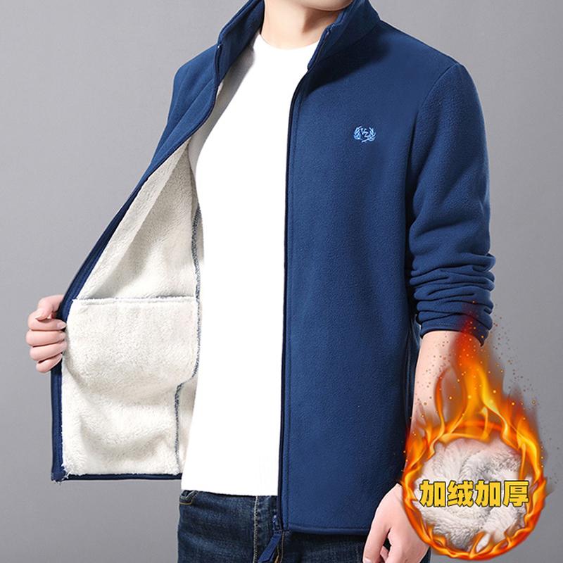 禅羽秋冬季青年男士加绒开衫休闲外套