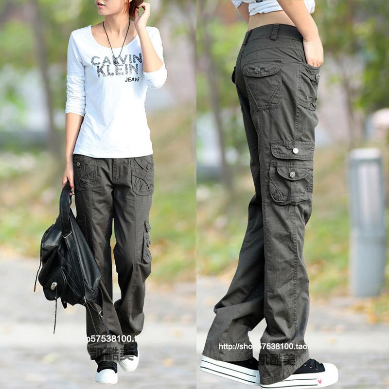 春夏新款工装裤女多口袋长裤休闲裤韩版宽松户外运动直筒裤长裤子