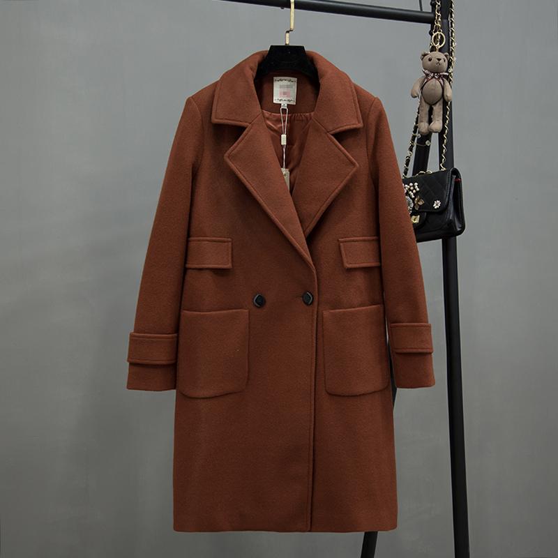 清仓特 001西装翻领双口袋毛呢外套百搭简单大衣风衣冬款女装